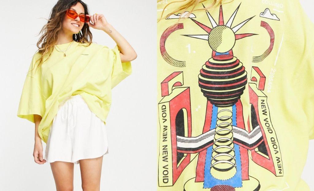 Camiseta amarilla extragrande con lavado ácido y estampado de piqué de COLLUSION Unisex