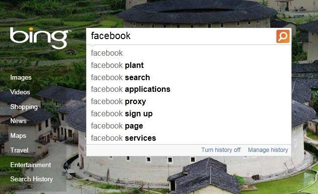 Facebook en Bing