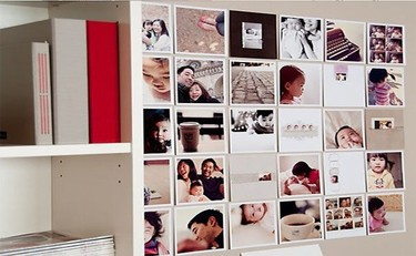 Una buena idea decorativa: un mural con fotos del bebé