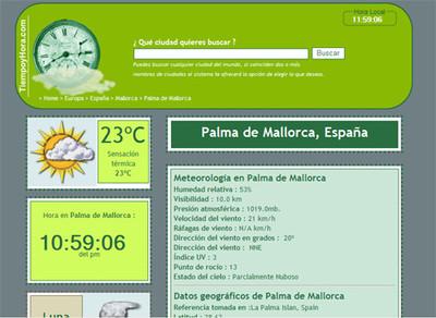 TiempoyHora.com, nueva web con datos meteorológicos y horarios de todo el mundo