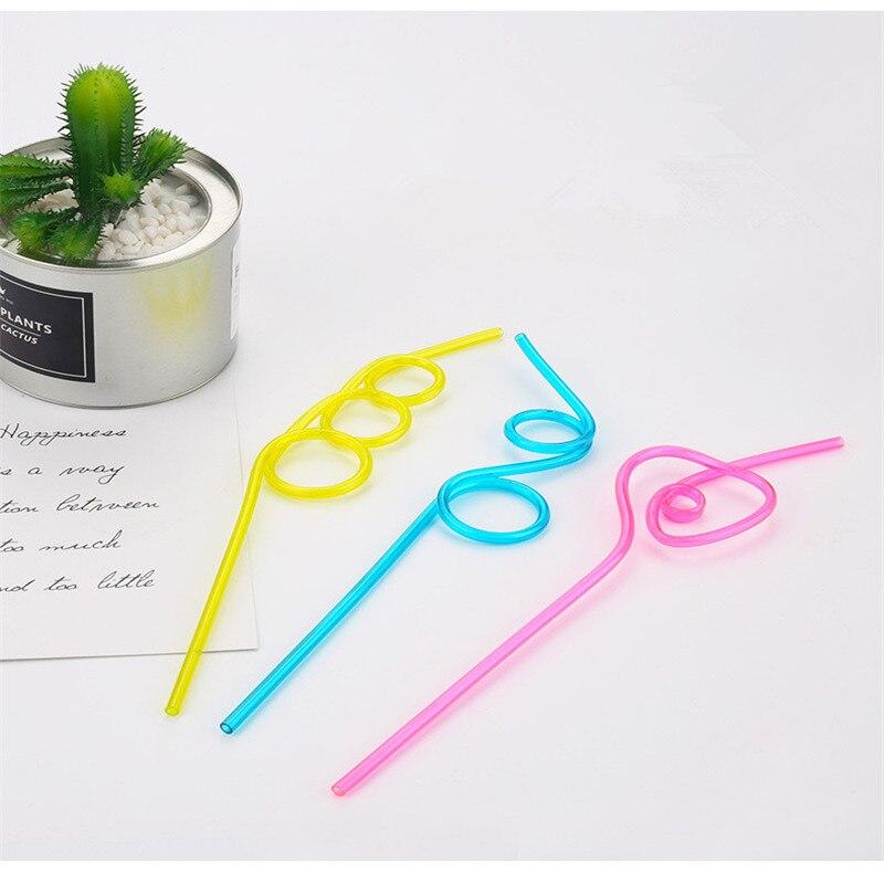 5 unids/set creativo colorido de loco rizado bucle pajitas de plástico para beber para fiesta de cumpleaños