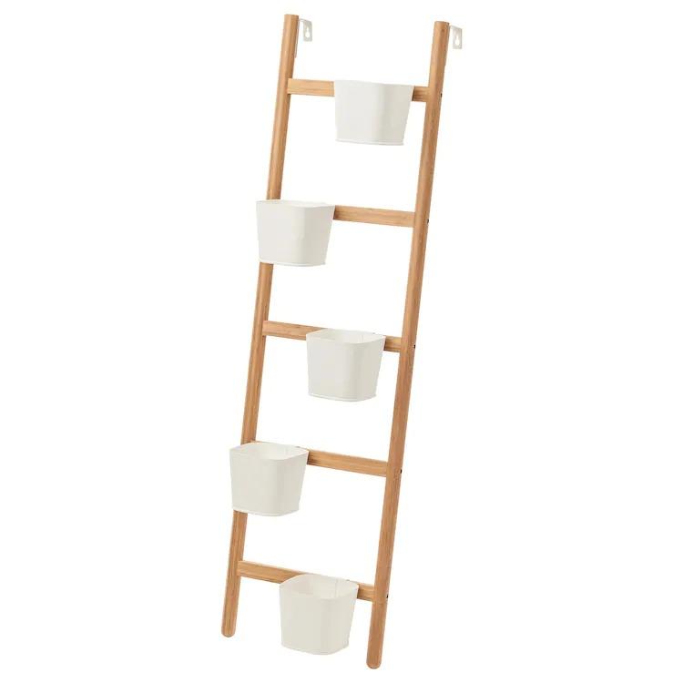 SATSUMAS Soporte 5 macetas, bambú, blanco, 125 cm