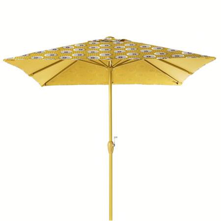 Sombrilla De Aluminio Y Tela Con Motivos Decorativos Amarillos Y Negros