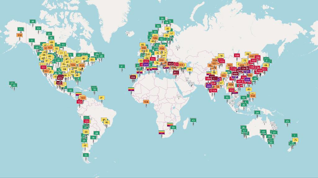 Mapa contaminación a tiempo real