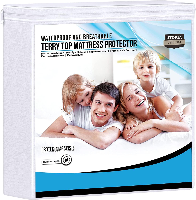 Utopia Bedding Impermeable Protector De Colchón 135 x 190 cm, Premium Funda De Colchón De Rizo 200 gsm, Transpirable, Elástico En Todo El Contorno
