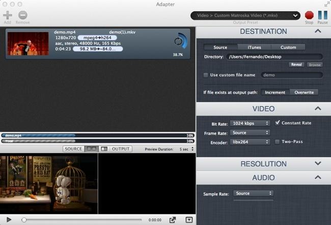 Este es el estupendo aspecto de Adapter, un genial conversor de archivos multimedia