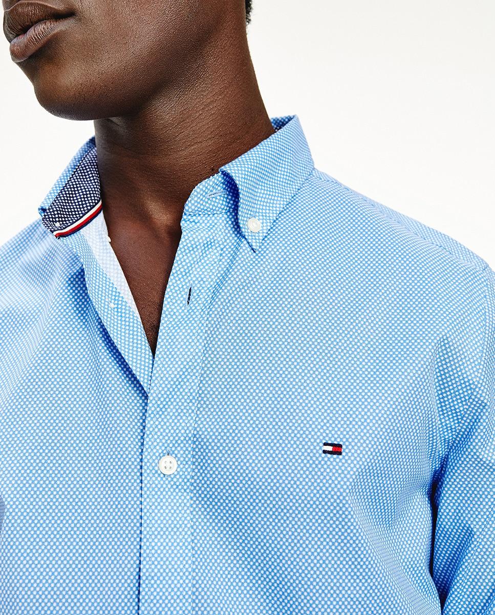 Camisa de hombre slim microestampada de manga larga azul