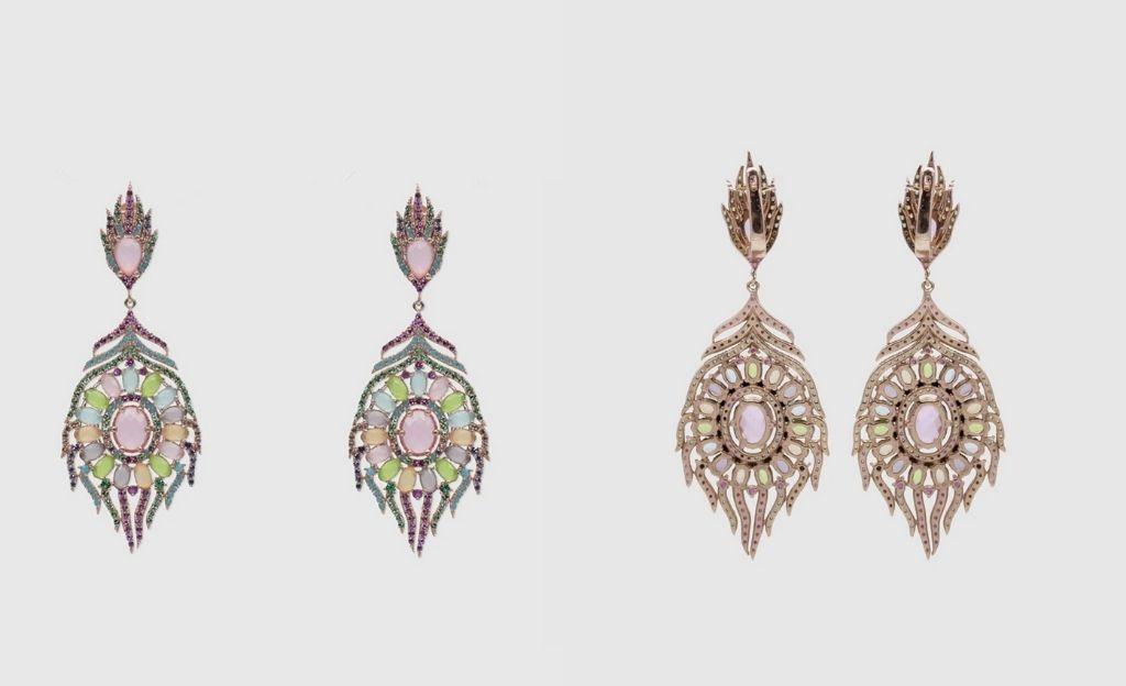 Pendientes Alexandra Plata Atelier de plata rosa y gemas