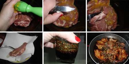 Filetes de cerdo con vinagre balsámico. Receta