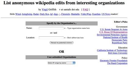 Wikiscanner, quien edita la Wikipedia