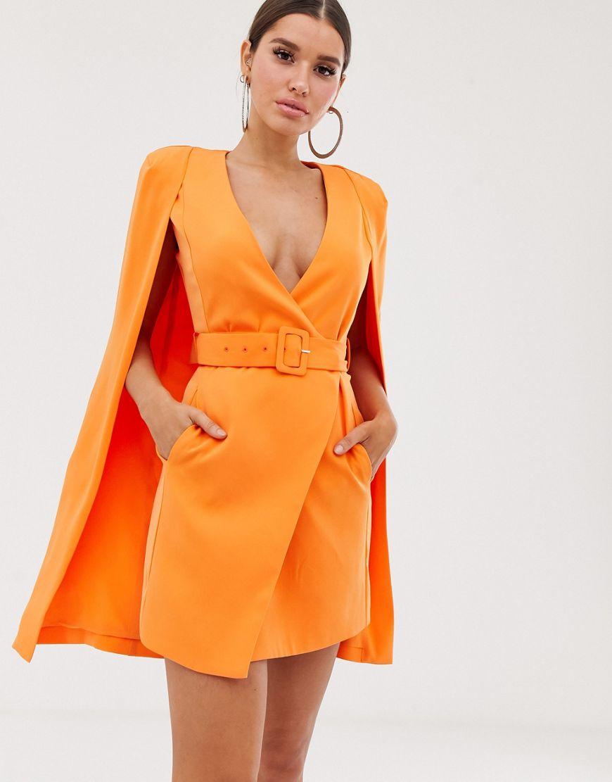 Vestido americana tipo capa con cinturón en naranja