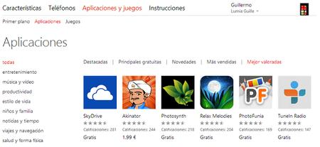 La web de Windows Phone Store ya permite ordenar las aplicaciones por calificación