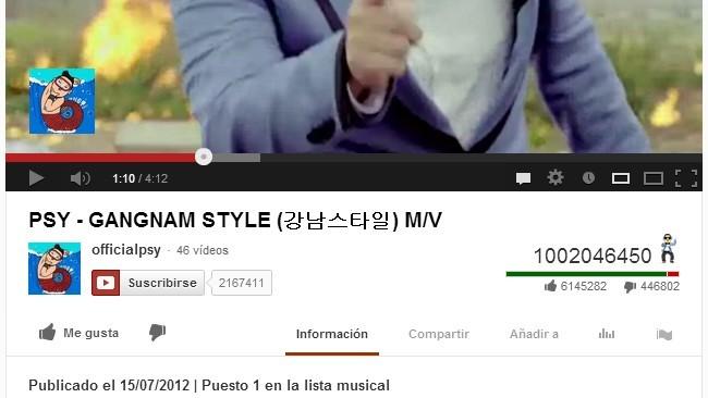 Gangnam Style rompe otro record: el primer vídeo de YouTube en superar los mil millones de visualizaciones