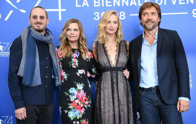 Aronofsky and the stars of 'Mother' in Venice