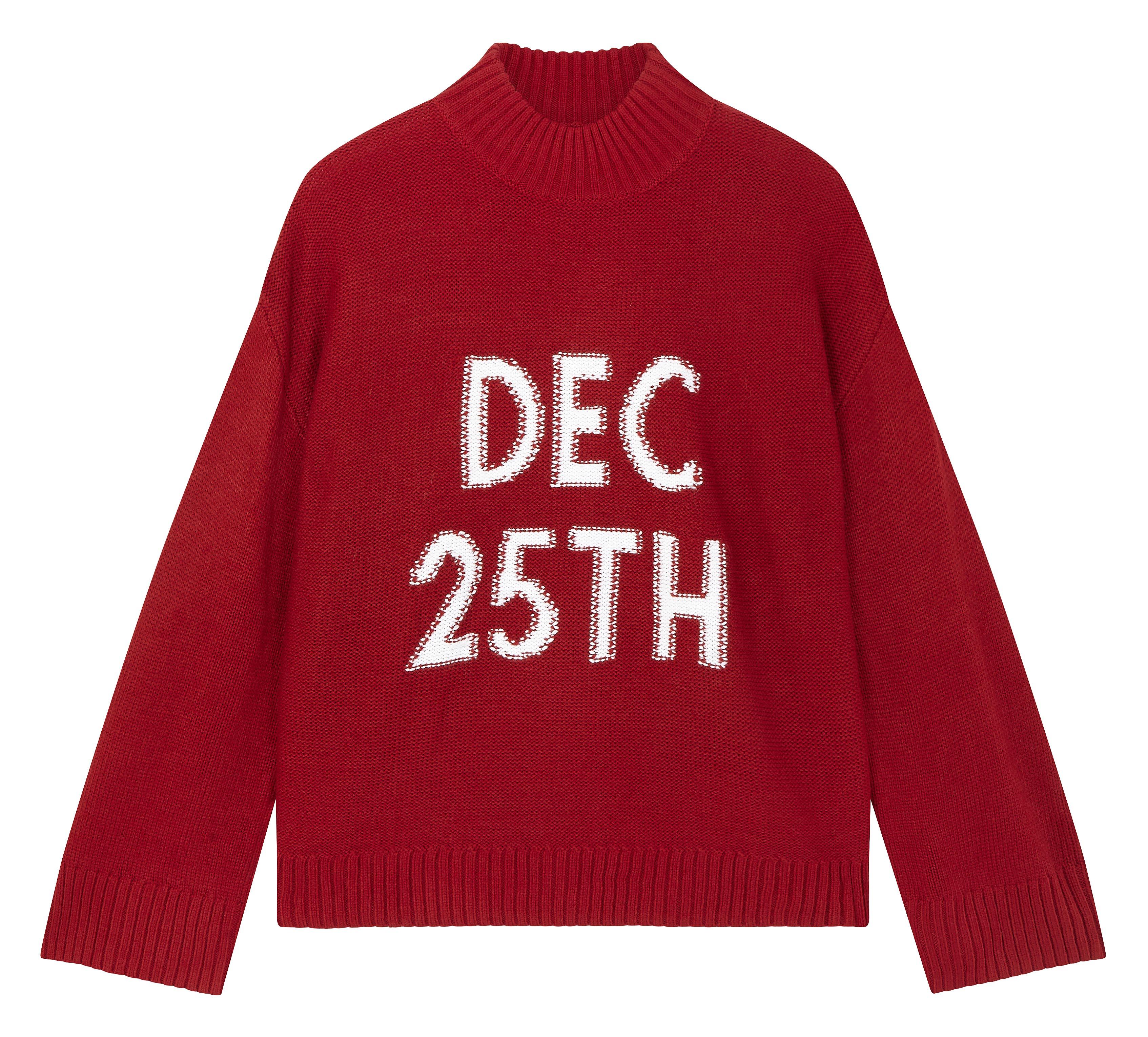 Jersey navideño rojo de corte oversize con la fecha DEC 25th