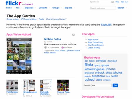 flickr App Garden, lista de aplicaciones que usan la API de flickr