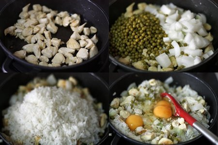 Receta de arroz frito con pollo y huevo. Pasos
