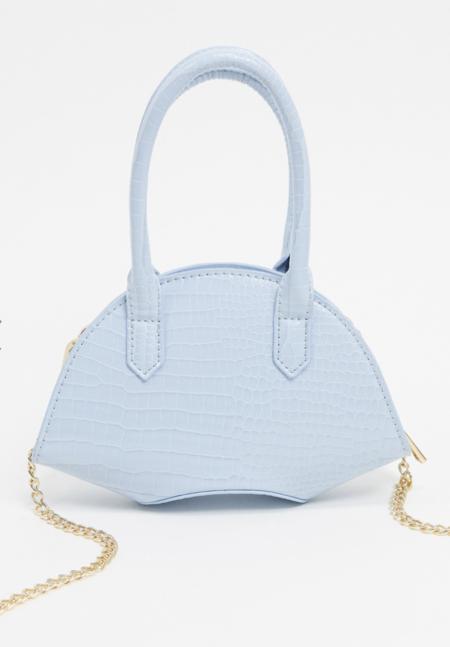 Bolso Con Base Curvada Y Diseno De Cocodrilo En Azul Pastel De Asos Design