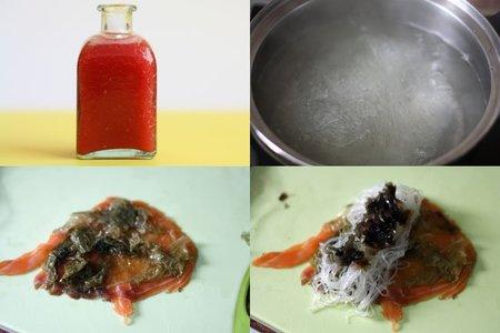 Hacer rollitos de salmón ahumado y fideos de soja
