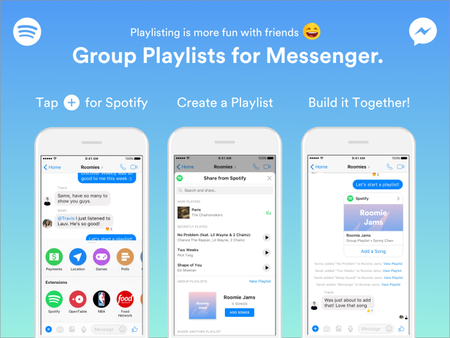 Spotify permite ahora crear y modificar playlists colaborativas en Facebook Messenger
