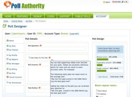 PollAuthority, genera tus encuestas en la web incluso con vídeo
