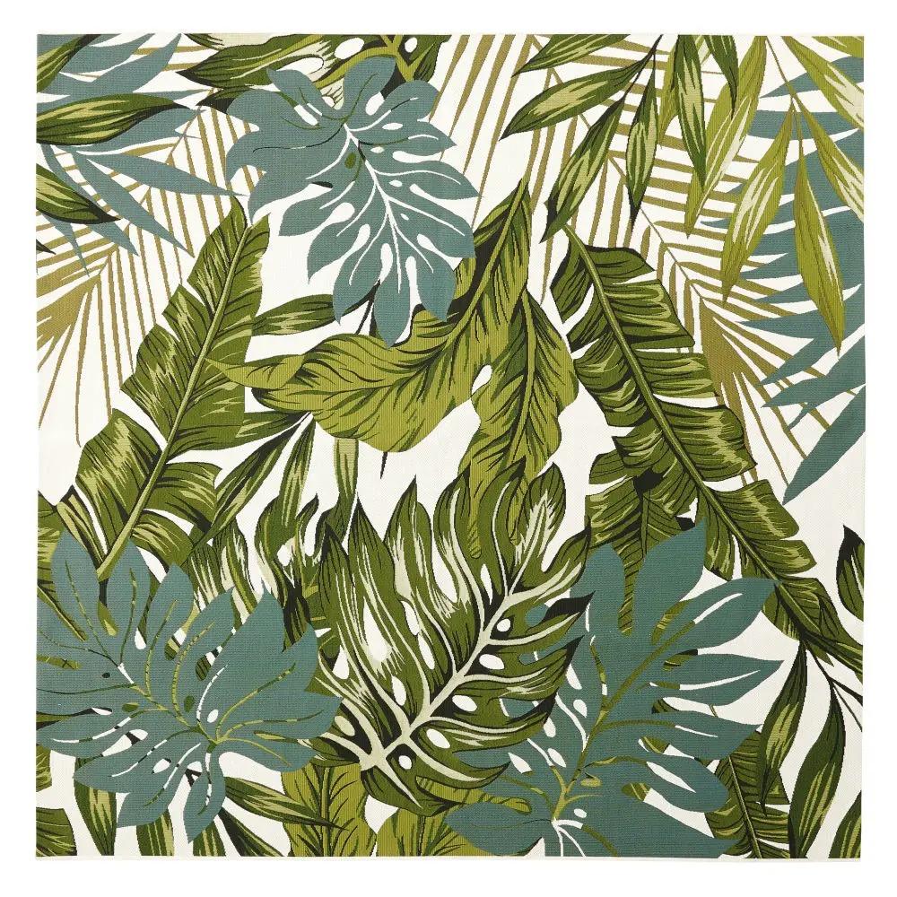 AMAZONIE.- Alfombra de exterior blanca con estampado de follaje verde 200x200 CMS