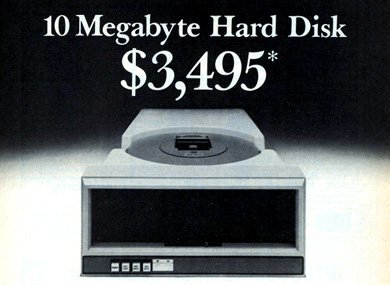Anuncio de un disco duro de 10 MB