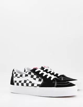 Zapatillas bajas negras a cuadros dameros de ante SK8-Low de Vans