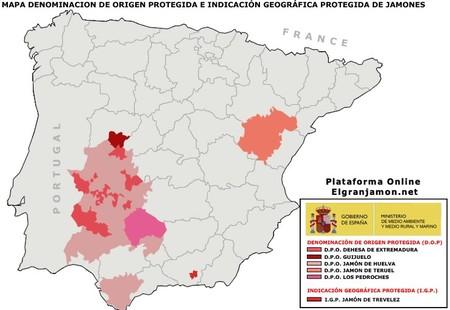 Mapa Denominaciones De Origen Jamon Iberico El Paladar