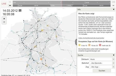 Mapa en vivo de los retrasos de los trenes alemanes