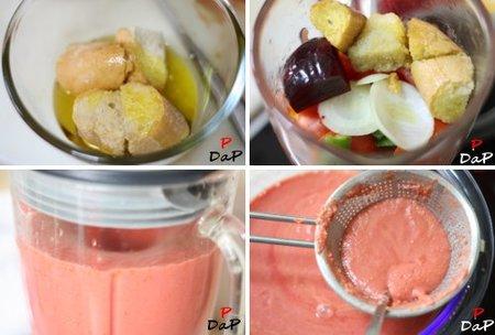 Preparación del gazpacho de remolacha
