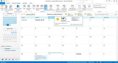 Outlook 2013, gestión de calendario