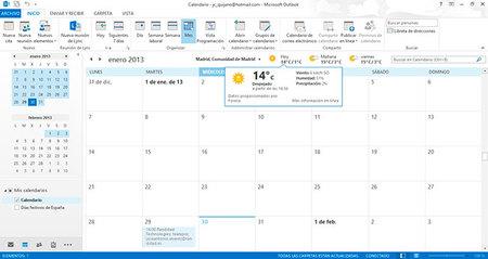 Outlook 2013, gestión de calendario
