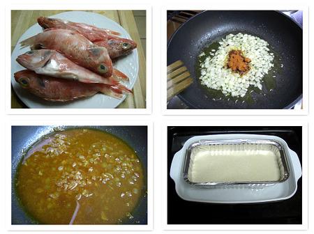 Pastel de pescado. Collage