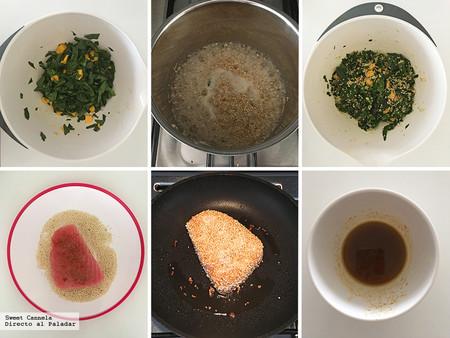 Atún empanizado en ajonjolí con ensalada de quinoa y mango