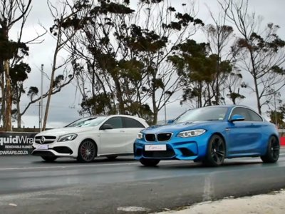 Mercedes-AMG A 45 contra BMW M2. Duelo a fondo entre compatriotas con photo finish