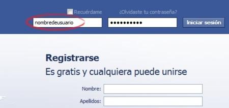 Iniciando sesión en Facebook con nuestro nombre de usuario
