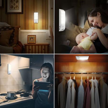 Luz Nocturna, OMERIL Luces LED Armario con Sensor Movimiento (2PCS con 24 LED), Lámpara Nocturna Recargable con 3 Modos, Luz Cálida para Armario, Pasillo, Escalera, Sótano, Cocina, Garaje, Gabinete [Clase de eficiencia energética A++]