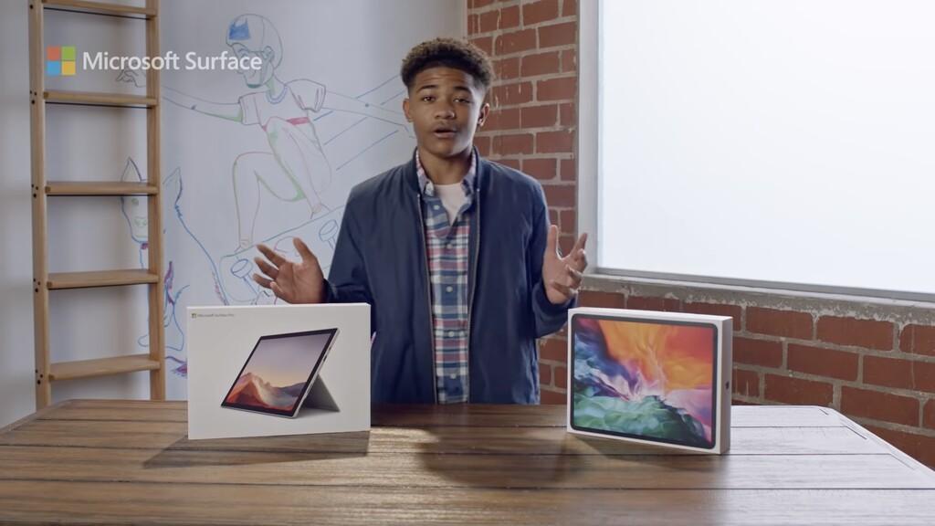 Microsoft imagine que el Surface Pro siete con Intel™ Core i3 es mejor que un iPad Pro en su último anuncio