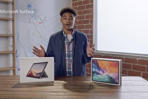 Microsoft cree que el Surface Pro 7 con Intel Core i3 es mejor que un iPad Pro en su último anuncio
