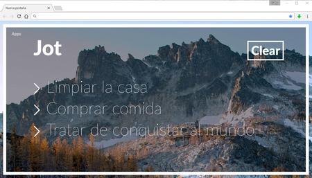 Jot, reemplaza tu página de inicio en Chrome con una hermosa imagen y una lista de notas