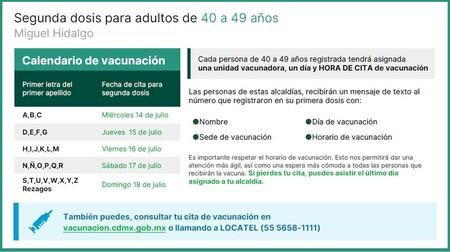 Vacunación Miguel Hidalgo 40 a 49 años, segunda dosis