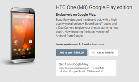 HTC One M8 ya disponible en Google Play Edition