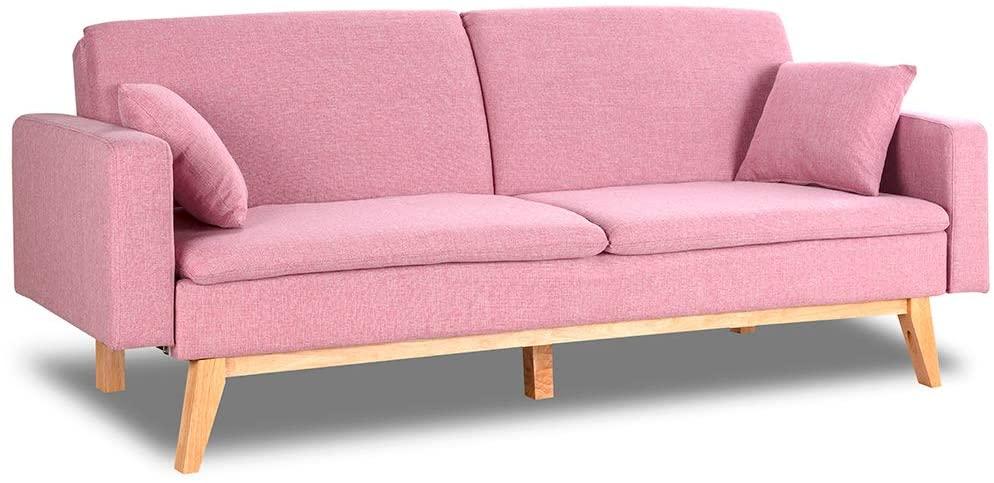 Sofá cama rosa de tres plazas