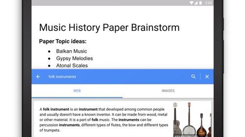 Documentos de Google para Android ya nos permite insertar imágenes, textos y enlaces desde la web