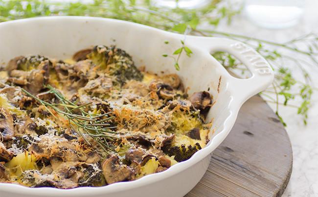 Gratén de brócoli y champiñones: receta
