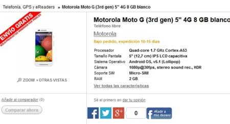 A Fnac se le escapa un Moto G 2015 [Actualizado: Fnac cambia las specs]
