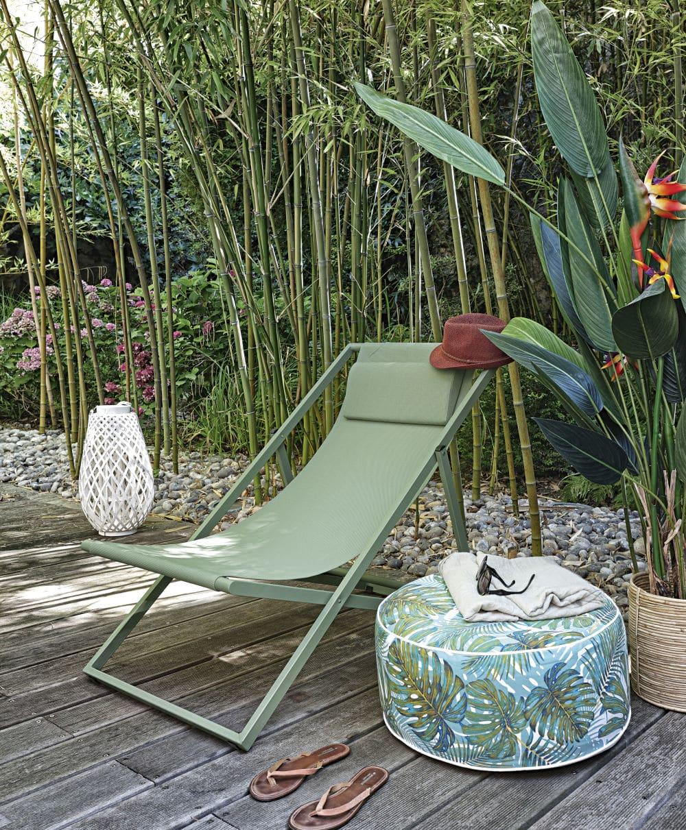 Tumbona en verde caqui