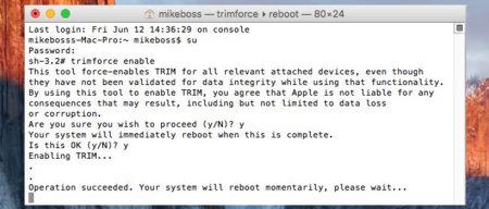 OS X El Capitan podría dar soporte TRIM a unidades de terceros