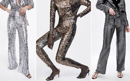 Pantalones Lentejuelas Zara